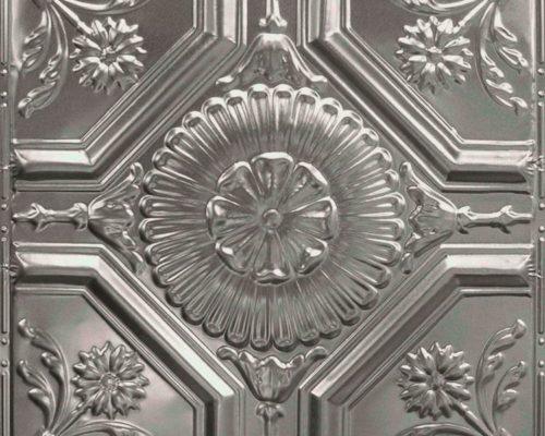 Zilveren rvs plafondtegel met glans en patroon